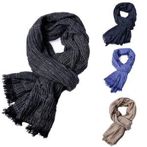 KLV 1PC hombres del invierno de la bufanda del mantón clásico de la franja de Mezclas de algodón color sólido de la borla suave larga bufanda caliente Negro, la marina de guerra, azul, caqui z1009