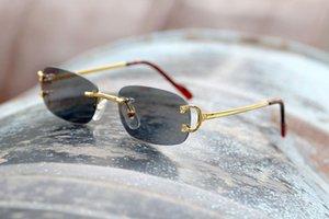 상자 2020으로 최고 품질 무테 선글라스 여성 디자이너 레트로 금속 선글라스 클래식 여성 그라데이션 일 유리 남성 빈티지 태양 안경