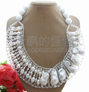 Women's Beautiful! Bead-Nucleated Pearl&Porcelain&Crystal Necklace