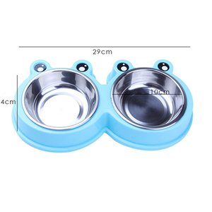 3 Color Cute Frog Stainless Steal Health Pet Dog Cat Puppy Feeding Feeder Double Food Bowl Water Dish Food Dish Pet Feeding Bowl