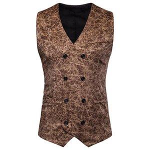 Leopard Мужские костюмы Жилеты рукавов вскользь Mens Верхняя одежда с кнопкой Мужской одежды
