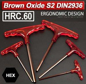 Brown Oxide Set chiave a brugola esagonale Chiave 2 2.5 3 4 5 6 8 10 millimetri T-impugnatura della chiave 2-10mm S2 Acciaio Metric HRC.60 Hex cacciavite