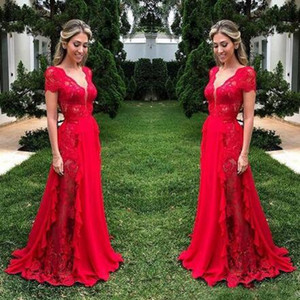 2020 robes de demoiselle d'honneur de la dentelle magnifique pour mariage rouge profond coiffe de col en V pochette de femme de femme d'honneur robe de demoiselle de demoiselle d'honneur