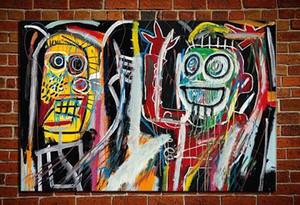 Jean-Michel Basquiat « Dustheads » Immense Grand Accrochage à la main peinture à l'huile sur toile pour Décoration murale dans le salon .49