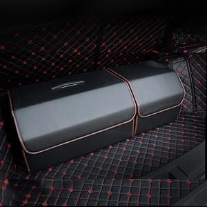 Universal PU Leather Car Trunk Organizer Caixa de armazenamento Bag Auto Trash ferramenta saco Folding Grande armazenamento de carga Estiva Tidying