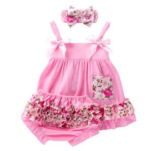 Bebek Çiçek Elbise Bebek Sling fırfır Leopar Baskılı Elbise Splice PP Şort Amerikan Bağımsızlık Milli Günü Bebek Giyim 060509 ayarlar
