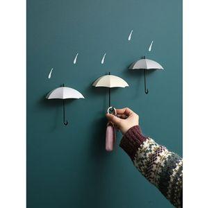 Creative mur montage magnétique clé Gouvernante 3pcs / set Kawaii Umbrella Forme Crochets Articles de décoration Hanger pour sac à main écharpe