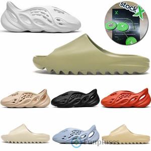 Krankenhaus Blau Foam Runner Kanye West Luxuxentwerfer Slippers Knochen Weiß Triple Black Resin Plättchen Stock X Männer Frauen Loafers Fashion Sandal