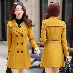 2018 new women's autumn and winter woolen coat female long section Korean version of the winter woolen coat