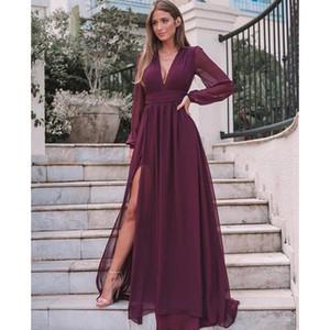 Rouge foncé / bleu en mousseline de soie Robe de soirée col en V profond à manches longues Robes formelles femmes élégantes Robes dîner jambe de Split Abiye gece elbisesi