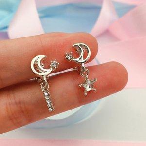 GRACE JUN Rhinestone CZ Small Star Moon Clip on Earrings No Pierced for Women Charm Jewelry Needn't Ear Hole Earrings Bijouteie