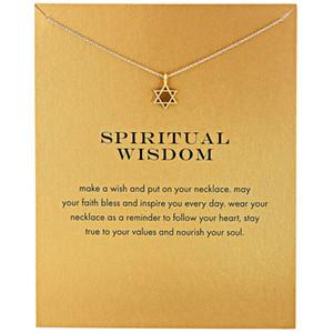 نجمة داود العصرية قلادة قلادة للنساء الحد الأدنى لون الذهب سلسلة المختنق القلائد هدية بطاقة الحكمة الروحية