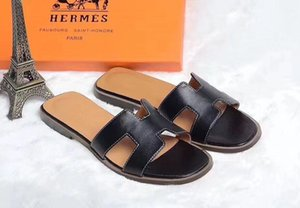 2020 new Slippers Sandals Flat shoe Real leather Slides Best Quality Slippers Sandals Huaraches Loafers Scuffs For Woman
