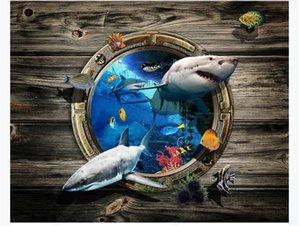 3D personalizado autoadhesivo pintura para pisos pegatinas a prueba de agua Underwater World Shark Bathroom Dormitorio 3D Pintura para pisos