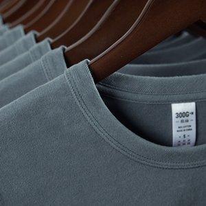 300G Carbon Emorized Men's Cotton Casual T-Shirt Men Summer Ventilation T-shirt Fashion Male T Shirts Solid Color Simplicity Tee Top DZM013