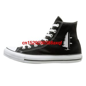 Canvas Shoes Snowboard Pine Tree Fashion High Top Lace Ups Sneaker For Men's Women's