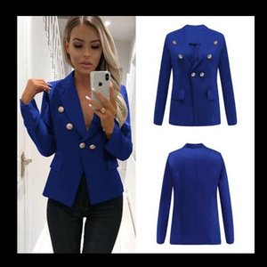 Las mujeres traje color sólido botón chaquetas mosca de la manera Trajes chaquetas señora del diseñador de la chaqueta informal Streetwear Trajes tamaño S-2XL