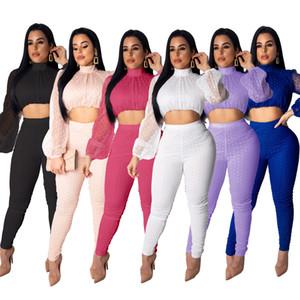 Puantiyeler Sheer 2019 Yeni Bayan Örgü Moda Suits iki Parçalı Set Mock Boyun Uzun Fener Kollu Kırpma Üst + Kalem Pantolon Rahat Takım Elbise Clubwear