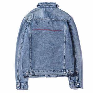 Moda Mens Stylist Denim Jacket Homens Mulheres Alta Qualidade Casual Coats Preto Azul Moda Mens Stylist Jacket Casacos tamanho M-XXL