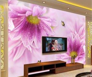 CJSIR пользовательские фото обои настенные фрески наклейки на стену фиолетовый маленькая Маргаритка мечта цветы элегантный эстетический фон