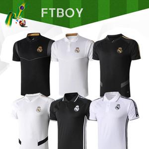 2019 Real Madrid Polo White Soccer Jersey 19 20 Real Madrid HAZARD Black POLO Shirt RAMOS MODRIC ASENSIO ISCO Football POLO Uniforms