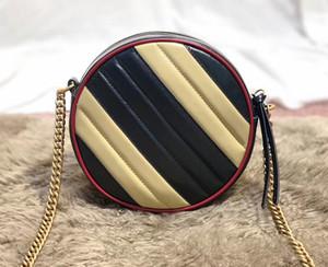2019 Beige Schwarz Retro-Art-Rund Marmont Beutel-Qualitäts-Luxus-Schulter-Beutel-Marken-Designer-Taschen Mode für Frauen Schultertasche