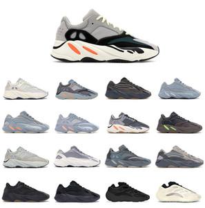 Originales 700 gris sólido B75571 Kanye West de los hombres Zapatos de mujer corredor de la onda auténtico inercia de carbono azul estático Utilidad Negro azul del trullo Correr