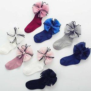 tornozelo do bebê Princesa meias menina Cotton Socks borda preta Organza bowknot Quads CUHK crianças comuns Pure Color