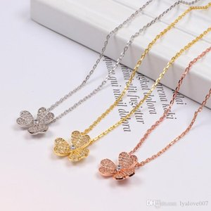 womens Stainless Steel Chain Couples Triple leaf crystal Necklaces & Pendants for womenrose gold couples jewelry love necklace
