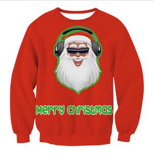 Papai Noel Xmas Patterned Camisola feia Camisolas Natal Tops Homens Mulheres manga comprida Pullovers 2019 camisola do feriado S M L XL