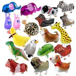 Walking Pet Animal Helium Aluminum Foil Balloon Automatic Sealing Kids Baloon Toys Gift For Christmas Wedding Birthday Party Supplies