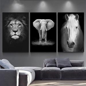 Toile Peinture murale Art animal Lion Elephant cerf Affiches zèbre et mur Prints photos pour le salon Décoration Décoration d'intérieur