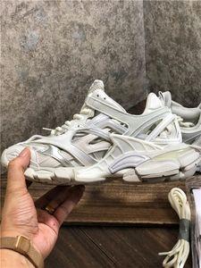 2020 de lujo de Hombres Mujeres Zapatos Casual Pista 2 zapatillas de deporte 19FW pista2 blanco con cordones de las zapatillas de jogging 3M Triple S Chaussures Senderismo