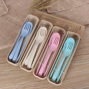 Squisito grano Environmental Health Platycodon paglia Posate per campeggio Tablewarel forcella del cucchiaio bacchette Set di Camp Cucina ZZA1086