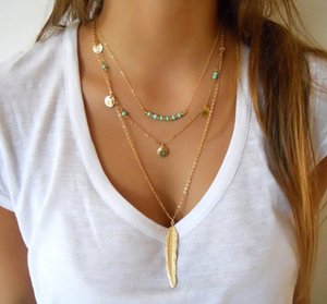 Hot Fashion Gold Color Multilayer Coin Tassels Lariat Bar Beads Choker Feather Pendants Necklaces Women Bijoux C19041501