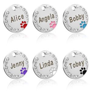 30 pçs / lote Cão de Estimação Gato ID Tag Em Branco de Aço Inoxidável Rodada Paw Nome Tag Colar de Cachorro Acessórios Pingente Para Cães Gatos Anti-lost