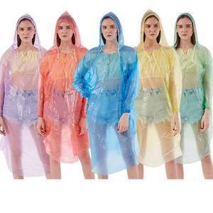 Unisex Disposable Raincoat PE Travel Rain Coat Poncho Rainwear Portable Waterproof Outdoor One Time Rain Wear LJJA4028