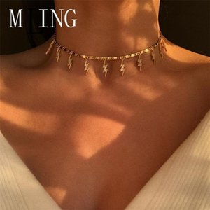 MLING Vintage Simple Alloy Crystal Choker Necklace Simple Geometric Necklace for Women