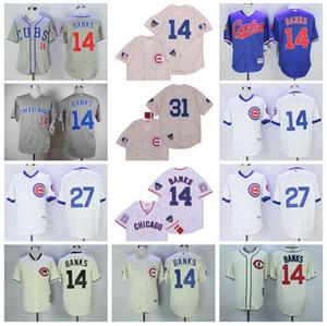 Vintage 1990 1969 1988 1994 1929 Baseball 14 Ernie Banks Jersey 27 Addison Russell 31 Maddux kühle niedrige 2016 Pinstripe Pullover