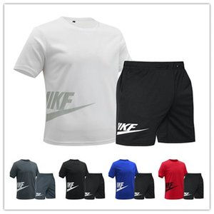2020 New Arrivals Summer Mens tracksuit short sleeve T-shirt and shorts casual hoodies sports suit sports set men's Round neckDHL L1835
