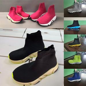 Balenciaga Trecho Tecido tornozelo crianças botas meninas corredores escolares sneakers sapatos cor-de-rosa formadores de moda miúdo crianças meias pretas tênis de corrida 24-35
