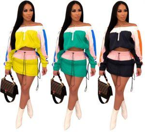 commercio all'ingrosso camicia di bodycon del vestito da estate del manicotto lungo delle donne + miniskirt pannello esterno di alta qualità di modo del vestito da due pezzi klw0627