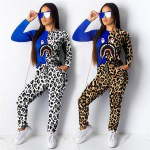 Leopard Shark печати Футболка Tracksuit Женщины с длинным рукавом Футболка Блуза + брюки Брюки 2 Piece Set Лоскутная Популярные Эпикировка Одежда
