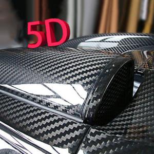 1 unid Car Styling Negro Brillante 5D Fibra de Carbono Vinilo Wrap Sticker Decal Para techos campanas topes guardabarros guardabarros pegatinas DIY calcomanías