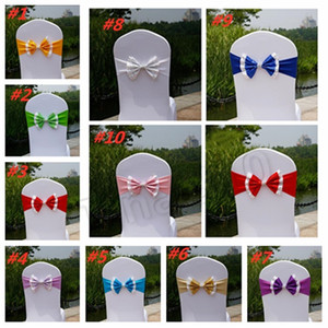 10styles Paillette Chair Cover Sashes sequin Elastic Spandex Chair Band Bow With Buckle for Weddings Event Home TextilesT2I5531