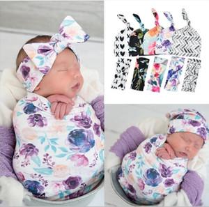 INS-Baby Swaddle Empfangen Decke Infant Blumendecken mit Stirnband Hut Neugeborenes Swaddle Wrap 3pcs Schlafen / set Baby-Fotografie Props