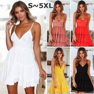 5XL del tamaño extra grande de las mujeres del vestido de noche ligas del cordón del V vestidos de cuello muchacha de la mujer de la falda de los vestidos de verano se visten Ropa del chaleco de la gasa