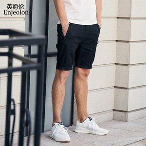 Enjeolon 2020 Estate Nuovo pantaloncini casuale uomini pantaloncini in cotone solidi maschio Disponibile ginocchio casuale K6427