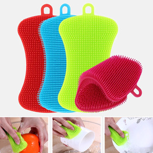 1 3 4pcs Kitchen Cleaning Brush Silicone Dishwashing Brush Vegetable Fruit Dish Washing Cleaning Brushes Pot Pan Sponge Scrubber