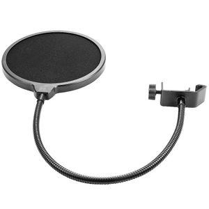 6-Inch Clamp On Microphone Pop Filter Bilayer Recording Spray Guard Double Mesh Screen Windscreen Studio